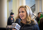Mineola, New York, USA. January 1, 2018. Town of Hempstead Supervisor LAURA GILLEN, a Democrat, is interviewed by a reporter for Hofstra University's WRHU radio station, after historic swearing-In of Laura Curran as Nassau County Executive. Interview was in the Theodore Roosevelt Executive & Legislative Building, which the Curran swearing-in was held in front of the entrance outdoors. Gillen's swearing in was held that morning at Hofstra University.