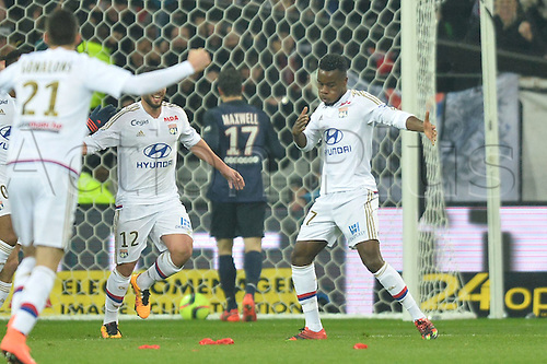 28.02.2016. Lyon, France. French League 1 football. Olympique Lyon versus Paris St Germain.  Maxwell CORNET (ol) clebrates scoring the games 1st goal in the 13th minute
