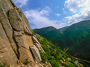 Eagle Pass from the base of Cannon Cliff, on the side of Cannon Mountain, in Franconia Notch State Park of New Hampshire USA. Cannon Cliff is known worldwide for rock climbing.
