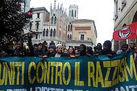 Padova, 17 Dicembre 2011.Manifestazione contro il razzismo in solidarietà della comunità senegalese di Firenze dopo la strage del 13