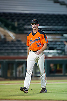 AZL Giants starting pitcher Seth Corry (63) smiles as he walks off the field between innings of the game against the AZL Reds on August 12, 2017 at Scottsdale Stadium in Scottsdale, Arizona. AZL Giants defeated the AZL Reds 1-0. (Zachary Lucy/Four Seam Images)