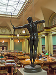 "Chicago, Illinois<br /> Art Institute of Chicago, view of the Franke Reading Room with sculpture ""Teucer"" , William Hamo Thornycroft 1884"