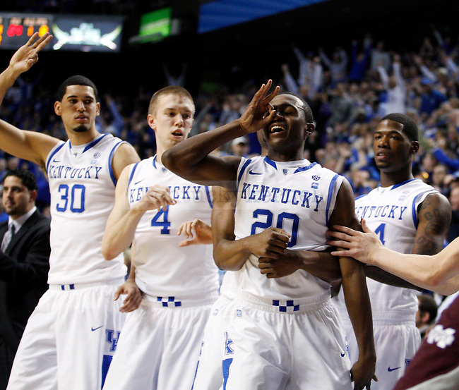 Teammates congratulate Doron Lamb after making a three during the second half of the UK men's basketball 85-79 win over Mississippi State at Rupp Arena on Tuesday, Feb. 15, 2011.  Photo by Britney McIntosh | Staff