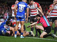 4th January 2020; Kingsholm Stadium, Gloucester, Gloucestershire, England; English Premiership Rugby, Gloucester versus Bath; Referee Tom Foley indicates a try scored by Freddie Clarke of Gloucester - Editorial Use