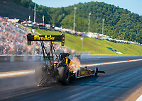 Jun 15, 2018; Bristol, TN, USA; NHRA top fuel driver Leah Pritchett during qualifying for the Thunder Valley Nationals at Bristol Dragway. Mandatory Credit: Mark J. Rebilas-USA TODAY Sports