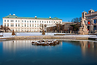 Oesterreich, Salzburger Land, Salzburg: Schloss Mirabell und Mirabellgarten, Barock Museum rechts | Austria, Salzburger Land, Salzburg: Palace Mirabell and Mirabell Garden, Baroque Museum at right hand sight