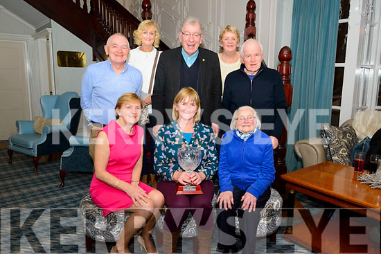 Noreen Looney Titmarsh celebrating her Killarney London Person of the Year Award surrounded by friend and family in the Avenue Hotel, Killarney last Saturday night. Pictured with font l-r Mary O'Niell, and Peggy Looney, back l-r Tom Looney, Mary Murphy, Fr Tom Looney, Enda Moloney and Pat Looney.