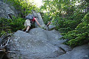 Hiker ascending the Six Husbands Trail in the Great Gulf Wilderness in Thompson and Meserve's Purchase, New Hampshire during the summer months; part of the Presidential Range in the White Mountains.