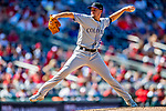 14 April 2018: Colorado Rockies relief pitcher Chris Rusin on the mound against the Washington Nationals at Nationals Park in Washington, DC. The Nationals rallied to defeat the Rockies 6-2 in the 3rd game of their 4-game series. Mandatory Credit: Ed Wolfstein Photo *** RAW (NEF) Image File Available ***