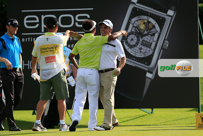 Thongchai Jaidee (THA) after getting a Hole-In-One on the 11th tee during Round 3 of the Maybank Malaysian Open at the Kuala Lumpur Golf &amp; Country Club on Saturday 7th February 2015.<br /> Picture:  Thos Caffrey / www.golffile.ie