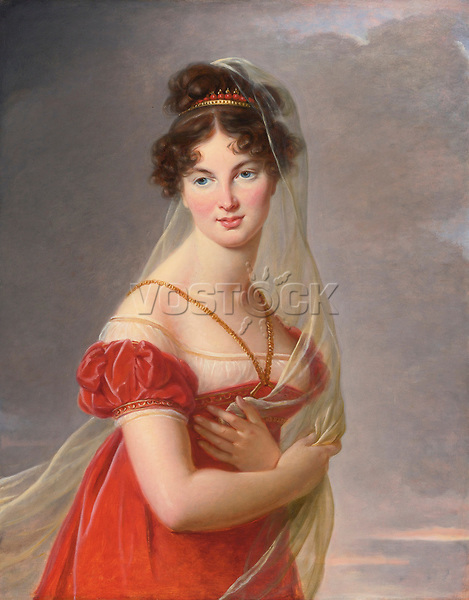 Portrait of Aglae Angelique Gabrielle de Gramont (1787-1842), wife of General Alexander Lvovich Davydov (1773-1833) by Vigee-Lebrun, Marie Louise Elisabeth (1755-1842) / Private Collection / Early 19th cen. / France / Oil on canvas / Portrait / 82,6x66 /
