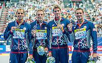 Team United States USA<br /> LOCHTE Ryan, DWYER Conor, MALONE Reed, WEISS Michael <br /> 4X200 Freestyle Relay Final Silver Medal<br /> Swimming - Kazan Arena<br /> Day15 07/08/2015<br /> XVI FINA World Championships Aquatics Swimming<br /> Kazan Tatarstan RUS July 24 - Aug. 9 2015 <br /> Photo A.Masini/Deepbluemedia/Insidefoto