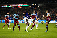 28th December 2019; London Stadium, London, England; English Premier League Football, West Ham United versus Leicester City; Wes Morgan of Leicester City with a volley shot - Strictly Editorial Use Only. No use with unauthorized audio, video, data, fixture lists, club/league logos or 'live' services. Online in-match use limited to 120 images, no video emulation. No use in betting, games or single club/league/player publications