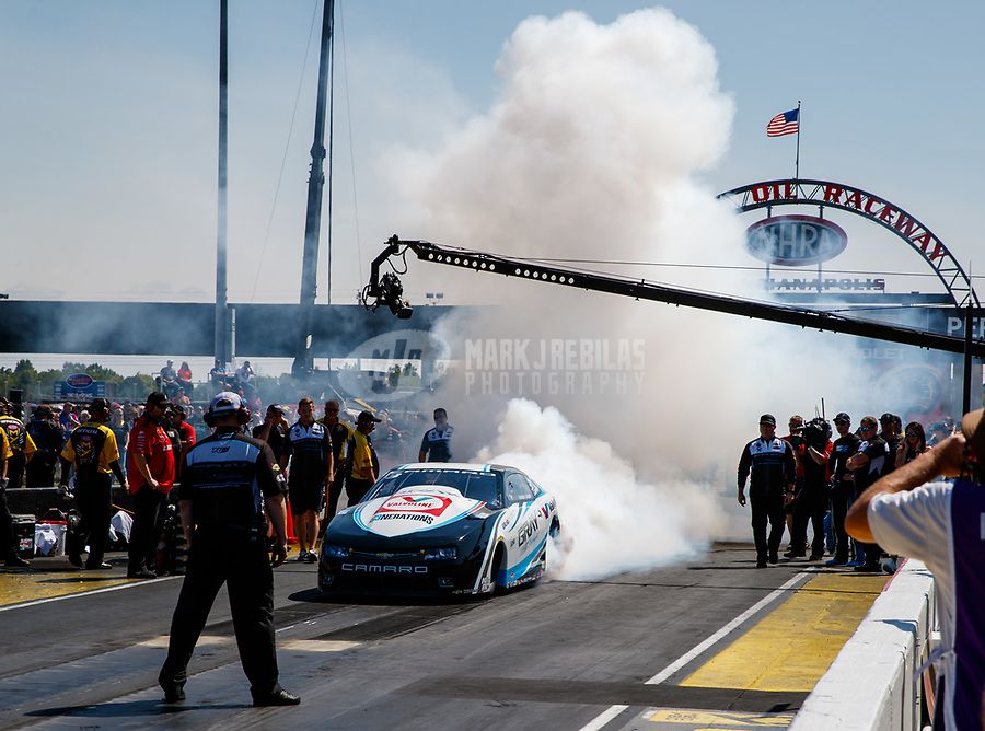 Sep 2, 2017; Clermont, IN, USA; NHRA pro stock driver Shane Gray does a burnout during qualifying for the US Nationals at Lucas Oil Raceway. Mandatory Credit: Mark J. Rebilas-USA TODAY Sports
