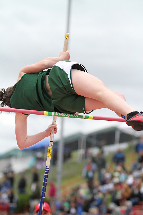 Photograph from the WIAA State Championships at Eastern Washington University in Cheney, Washington, during the 2010 Mt. Rainier Lutheran High School track and field season (pole vault photo sequence, 9 of 14).