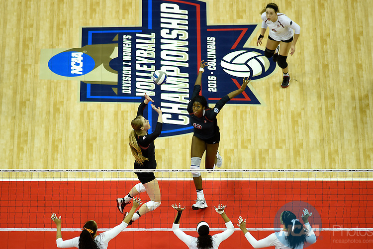 COLUMBUS, OH - DECEMBER 17:  Jenna Gray (1) of Stanford University sets the ball against the University of Texas during the Division I Women's Volleyball Championship held at Nationwide Arena on December 17, 2016 in Columbus, Ohio.  Stanford beat Texas 3-1 to win the national title. (Photo by Jamie Schwaberow/NCAA Photos via Getty Images)