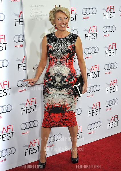 Emma Thompson at the premiere of her movie &quot;Saving Mr Banks&quot;, the opening movie of the AFI FEST 2013, at the TCL Chinese Theatre, Hollywood.<br /> November 7, 2013  Los Angeles, CA<br /> Picture: Paul Smith / Featureflash