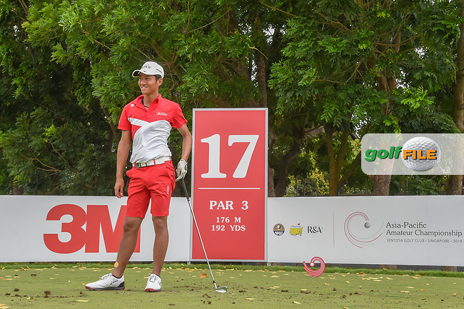 Kazuya OSAWA (JPN) reacts to his tee shot on 17 during Rd 3 of the Asia-Pacific Amateur Championship, Sentosa Golf Club, Singapore. 10/6/2018.<br /> Picture: Golffile   Ken Murray<br /> <br /> <br /> All photo usage must carry mandatory copyright credit (© Golffile   Ken Murray)