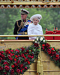 """QUEEN'S JUBILEE PAGEANT.Her Majesty The Queen and His Royal Highness The Duke of Edinburgh onboard the Royal Barge. .London. 03/06/2012.Mandatory Credit Photo: ©S Simpson/NEWSPIX INTERNATIONAL..**ALL FEES PAYABLE TO: """"NEWSPIX INTERNATIONAL""""**..IMMEDIATE CONFIRMATION OF USAGE REQUIRED:.Newspix International, 31 Chinnery Hill, Bishop's Stortford, ENGLAND CM23 3PS.Tel:+441279 324672  ; Fax: +441279656877.Mobile:  07775681153.e-mail: info@newspixinternational.co.uk"""