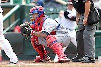Lehigh Valley Ironpigs catcher Dane Sardinha #22 in the field during the second game of a double header against the Rochester Red Wings at Frontier Field on April 14, 2011 in Rochester, New York.  Lehigh Valley defeated Rochester 5-3 in extra innings.  Photo By Mike Janes/Four Seam Images