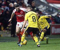 Fleetwood Town's Wes Burns battles with Oxford United's Cameron Brannagan and Jordan Graham<br /> <br /> Photographer Rich Linley/CameraSport<br /> <br /> The EFL Sky Bet League One - Fleetwood Town v Oxford United - Saturday 12th January 2019 - Highbury Stadium - Fleetwood<br /> <br /> World Copyright &copy; 2019 CameraSport. All rights reserved. 43 Linden Ave. Countesthorpe. Leicester. England. LE8 5PG - Tel: +44 (0) 116 277 4147 - admin@camerasport.com - www.camerasport.com