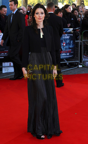 "ALEXANDRA EDENBOROUGH.The ""Tinker, Tailor, Soldier, Spy"" UK premiere, BFI Southbank cinema, Belvedere Rd., London, England..September 13th, 2011.full length black jacket blazer grey gray dress gold clutch bag.CAP/CJ.©Chris Joseph/Capital Pictures."