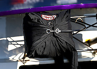 Aug. 16, 2013; Brainerd, MN, USA: Detailed view of the parachute pack of NHRA pro stock driver Vincent Nobile during qualifying for the Lucas Oil Nationals at Brainerd International Raceway. Mandatory Credit: Mark J. Rebilas-