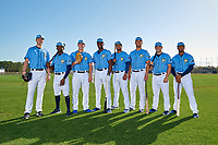 Tampa Bay Rays Matthew Liberatore, Vidal Brujan, Brendan McKay, Jesus Sanchez, Ronaldo Hernandez, Josh Lowe, Brandon Lowe, and Wander Franco during a Baseball America Photo Shoot on March 9, 2019 at Charlotte Sports Park in Port Charlotte, Florida.  (Mike Janes/Four Seam Images)