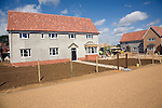 New housing under construction at Cavell Close, Bawdsey, Suffolk, England - under an innovative scheme proceeds from property sales are being used to fund coastal defences.