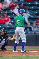 Cody Jones (7) of the Lexington Legends at bat against the Hickory Crawdads at L.P. Frans Stadium on April 29, 2016 in Hickory, North Carolina.  The Crawdads defeated the Legends 6-2.  (Brian Westerholt/Four Seam Images)