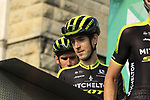 Mikel Nieve (ESP) and Mitchelton-Scott at sign on before the start of the 112th edition of Il Lombardia 2018, the final monument of the season running 241km from Bergamo to Como, Lombardy, Italy. 13th October 2018.<br /> Picture: Eoin Clarke | Cyclefile<br /> <br /> <br /> All photos usage must carry mandatory copyright credit (© Cyclefile | Eoin Clarke)