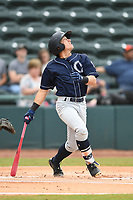 Charleston Riverdogs Kyle Gray (9) bats during the game with the Hickory Crawdads at L.P. Frans Stadium on May 12, 2019 in Hickory, North Carolina.  The Riverdogs defeated the Crawdads 13-5. (Tracy Proffitt/Four Seam Images)