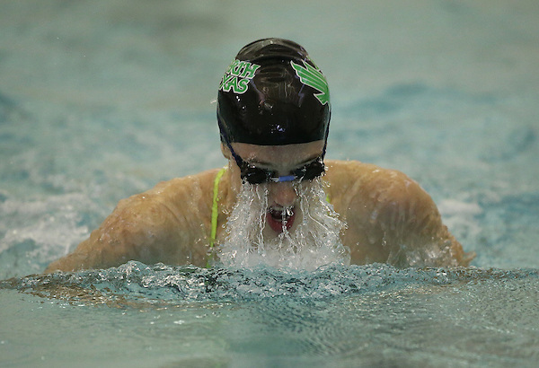 DENTON, TX - OCTOBER 5:  Mona Groteguth of the North Texas Mean Green swim Team compete in the 200 yard Medley Relay against the University of Arkansas Razorbacks at the  Pohl Recreation Center in Denton on October 5, 2013 in Denton, Texas. Photo by Rick Yeatts