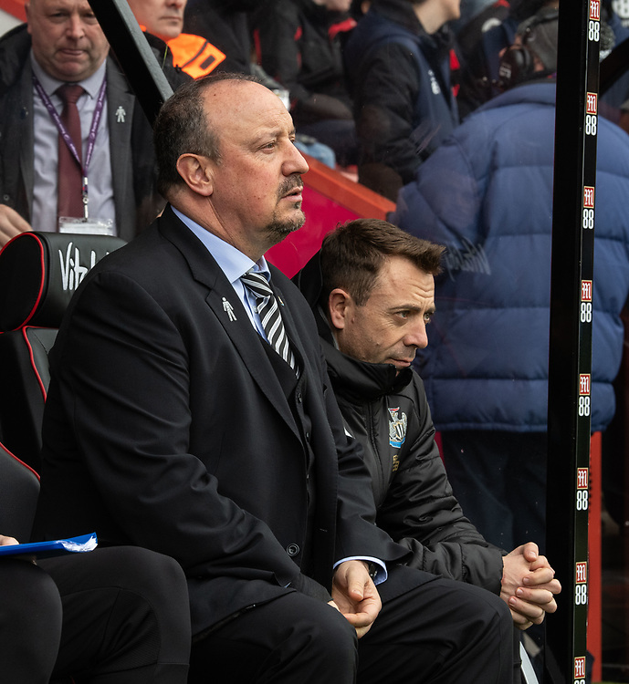 Newcastle United manager Rafa Benítez  <br /> <br /> Photographer David Horton/CameraSport<br /> <br /> The Premier League - Bournemouth v Newcastle United - Saturday 16th March 2019 - Vitality Stadium - Bournemouth<br /> <br /> World Copyright © 2019 CameraSport. All rights reserved. 43 Linden Ave. Countesthorpe. Leicester. England. LE8 5PG - Tel: +44 (0) 116 277 4147 - admin@camerasport.com - www.camerasport.com