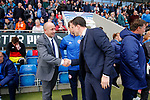 Chesterfield 1 Accrington Stanley 2, 16/09/2017. Proact Stadium, League Two. John Coleman, Manager of Accrington Stanley, and Gary Caldwell Manager of Chesterfield, shake hands before kick off,  Photo by Paul Thompson.