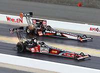 Sep 14, 2014; Concord, NC, USA; NHRA top fuel driver J.R. Todd defeats Clay Millican during the Carolina Nationals at zMax Dragway. Mandatory Credit: Mark J. Rebilas-USA TODAY Sports