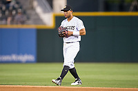 Charlotte Knights second baseman Yoan Moncada (10) on defense against the Durham Bulls at BB&T BallPark on May 15, 2017 in Charlotte, North Carolina. The Knights defeated the Bulls 6-4.  (Brian Westerholt/Four Seam Images)