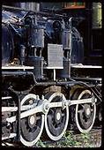 Detail of wheels of C-16 #223 and air compressors.<br /> D&amp;RGW  Knotts Berry Farm, Buena Park, CA