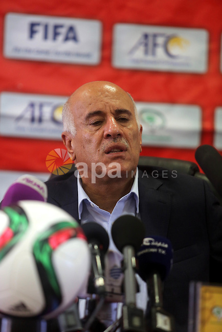 President of the Palestinian Football Association, Jibril Rajoub speaks during a press conference in the West Bank city of Ramallah on Sep. 06, 2015. Photo by Shadi Hatem