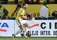 BARRANQUILLA - COLOMBIA - 05-10-2017: Falcao Garcia jugador de Colombia celebra después de anotar un gol a Paraguay durante partido de la fecha 17 para la clasificación a la Copa Mundial de la FIFA Rusia 2018 jugado en el estadio Metropolitano Roberto Melendez en Barranquilla. /  Falcao Garcia player of Colombia celebrates after scoring a goal to Paraguay during match of the date 17 for the qualifier to FIFA World Cup Russia 2018 played at Metropolitan stadium Roberto Melendez in Barranquilla. Photo: VizzorImage/ Gabriel Aponte / Staff