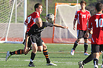 Palos Verdes, CA 02/03/12 - Danny Bishop (Peninsula #4) and Daniel Malikyar (Palos Verdes #28) in action during the Peninsula vs Palos Verdes boys varsity soccer game.