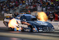 Sept. 16, 2012; Concord, NC, USA: NHRA funny car driver Matt Hagan during the O'Reilly Auto Parts Nationals at zMax Dragway. Mandatory Credit: Mark J. Rebilas-