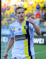 Matt Simon celebtrates scoring the opening goal during the A-League football match between Wellington Phoenix and Central Coast Mariners at Westpac Stadium in Wellington, New Zealand on Saturday, 12 January 2019. Photo: Dave Lintott / lintottphoto.co.nz
