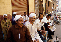 Smoking the hookah pipe on the streets of Cairo, Egypt.