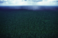 Aerial view of storm at Amazon rain forest, Brazil.