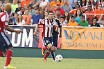 12 June 2013: Chivas USA's Jorge Villafana. The North American Soccer League's Carolina RailHawks hosted Major League Soccer's CD Chivas USA at WakeMed Stadium in Cary, NC in a 2013 Lamar Hunt U.S. Open Cup fourth round game. Carolina won the game 3-1 after extra time.