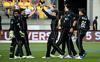 The Black Caps celebrate the dismissal of Ben Stokes during the One Day International between the New Zealand Black Caps and England at the Westpac Stadium in Wellington, New Zealand on Friday, 2 March 2018. Photo: Dave Lintott / lintottphoto.co.nz