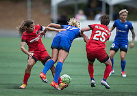 Seattle, WA - Saturday Aug. 27, 2016: Tobin Heath, Beverly Yanez, Meghan Klingenberg during a regular season National Women's Soccer League (NWSL) match between the Seattle Reign FC and the Portland Thorns FC at Memorial Stadium.