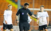 Referee Daniel Issawi waves away appeals after awarding Blackpool a penalty<br /> <br /> Photographer Alex Dodd/CameraSport<br /> <br /> The FA Youth Cup Third Round - Blackpool U18 v Derby County U18 - Tuesday 4th December 2018 - Bloomfield Road - Blackpool<br />  <br /> World Copyright &copy; 2018 CameraSport. All rights reserved. 43 Linden Ave. Countesthorpe. Leicester. England. LE8 5PG - Tel: +44 (0) 116 277 4147 - admin@camerasport.com - www.camerasport.com