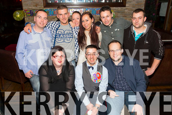 Gary Reidy from Castleisland celebrating his 30th Birthday at the Abbey Inn on Saturday  Front l-r Louise Nolan, Gary Reidy, Kenny Griffin.  Back l-r Anthony Healy, Daniel, Evelina, Gosha, Danny Nash, Jan Nesco